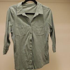 3/4 sleeve light green cotton button down